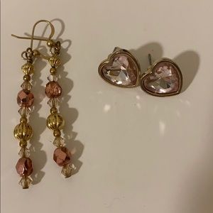 Two Pairs of Gold/Rose Earrings